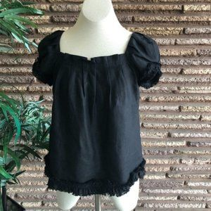 Kate Spade New York Black Linen Pleated SS Top